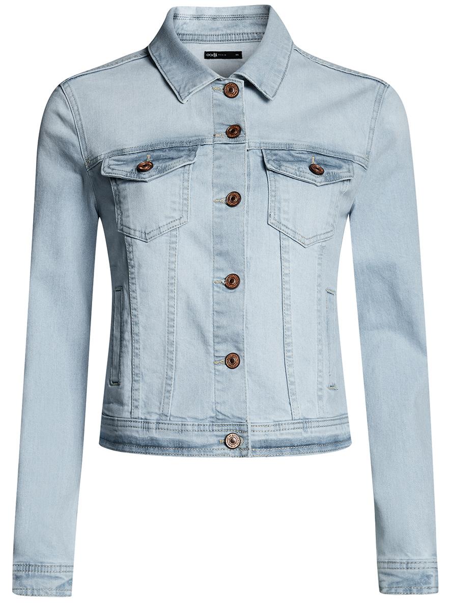 Куртка11109034-1B/46341/7000WЖенская джинсовая куртка oodji Ultra выполнена из высококачественного материала. Модель с отложным воротником застегивается на пуговица. Спереди расположено два втачных кармана и два накладных с клапанами на пуговицах.