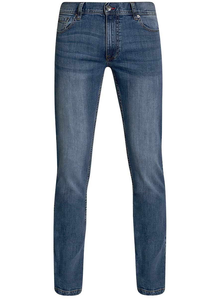 Джинсы мужские oodji Basic, цвет: синий джинс. 6B120048M/46627/7500W. Размер 29-34 (46-34)6B120048M/46627/7500WМужские джинсы oodji Basic выполнены из высококачественного материала. Модель средней посадки по поясу застегивается на пуговицу и имеют ширинку на застежке-молнии, а также шлевки для ремня. Джинсы имеют классический пятикарманный крой: спереди - два втачных кармана и один маленький накладной, а сзади - два накладных кармана.