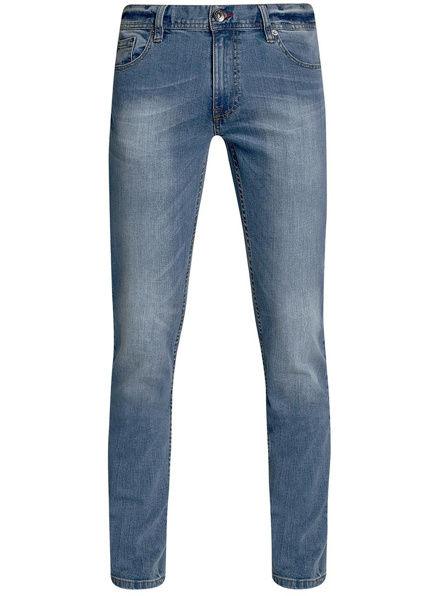 Джинсы6B120048M/46627/7400WМужские джинсы oodji Basic выполнены из высококачественного материала. Модель средней посадки по поясу застегивается на пуговицу и имеют ширинку на застежке-молнии, а также шлевки для ремня. Джинсы имеют классический пятикарманный крой: спереди - два втачных кармана и один маленький накладной, а сзади - два накладных кармана.