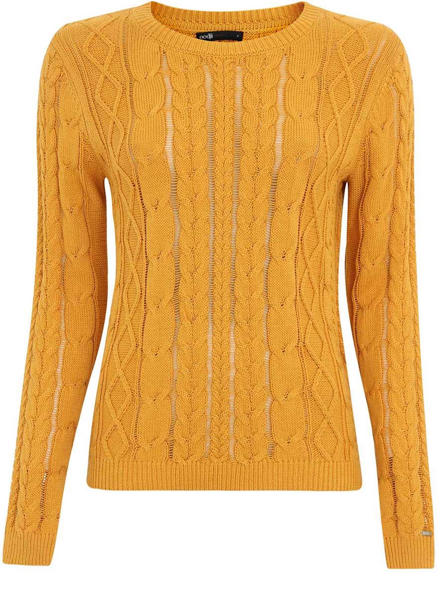 Джемпер женский oodji Ultra, цвет: желтый. 63807280/43064/5200N. Размер XS (42)63807280/43064/5200NУютный женский джемпер с круглым вырезом горловины и длинными рукавами выполнен объемной вязкой.