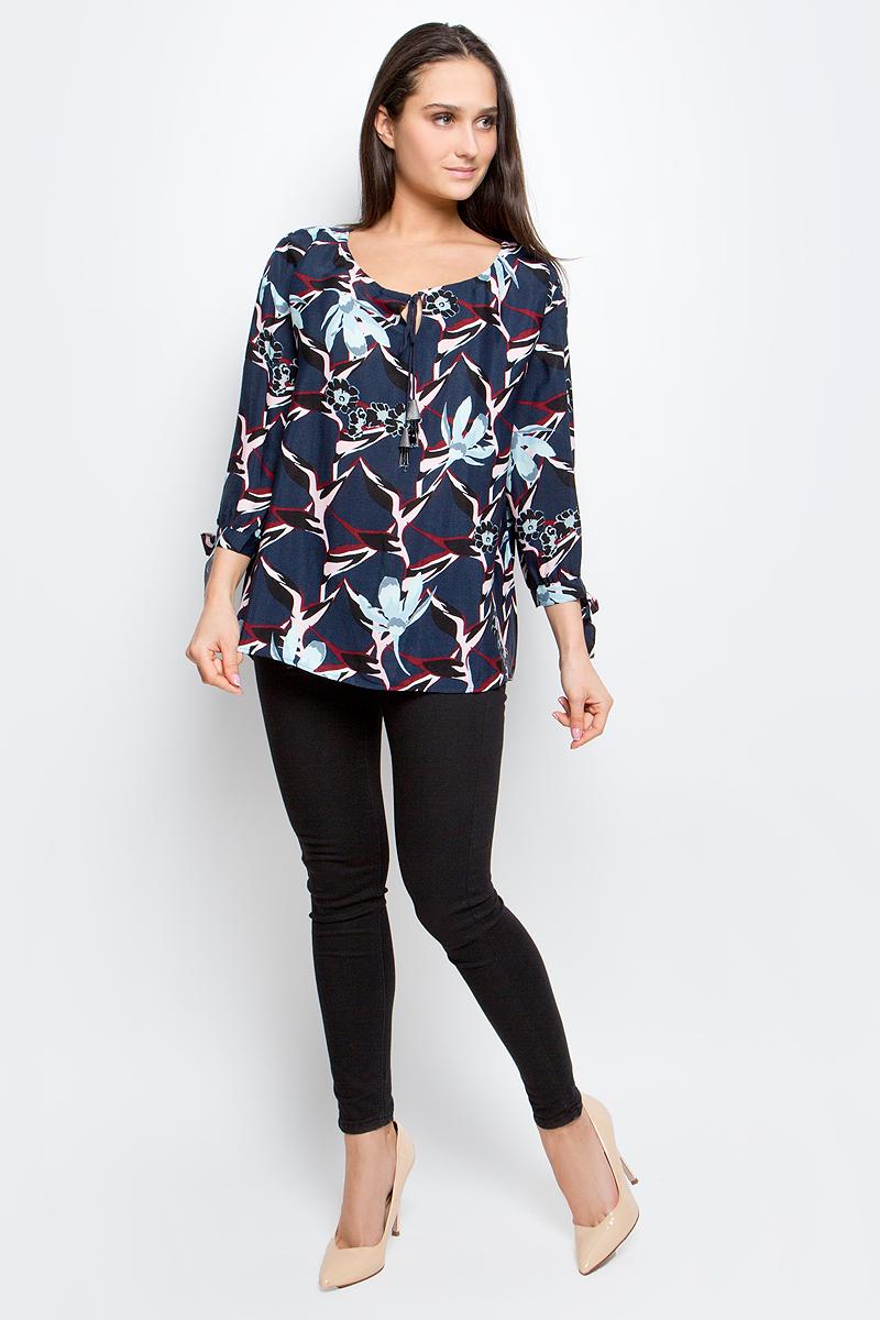 Блузка женская Baon, цвет: темно-синий. B177004. Размер XXL (52)B177004_Dusk PrintedЖенская блузка Baon выполнена из 100% вискозы. Модель с круглым вырезом горловины и рукавами 3/4 оформлена цветочным принтом.
