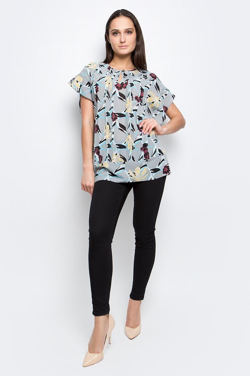 Блузка женская Baon, цвет: серый. B197002. Размер L (48)B197002_Anhydrite PrintedЖенская блузка Baon выполнена из 100% полиэстера. Модель с круглым вырезом горловины оформлена цветочным принтом.