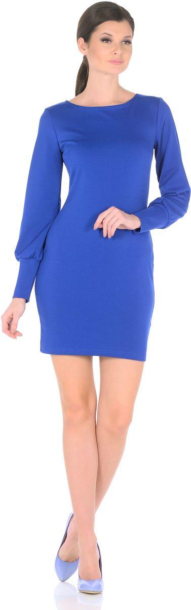 Платье Rosa Blanco, цвет: синий. 3187-12. Размер 483187-12Модное платье Rosa Blanco станет отличным дополнением к вашему гардеробу. Модель изготовлена из сочетания качественных материалов. Платье-миди приталенного силуэта выполнено с классическим вырезом-лодочка и длинными рукавами.Рукава дополнены широкими контрастными манжетами. Модель не имеет застежек. Платье приобретает особый шарм благодаря вытачки в области груди.