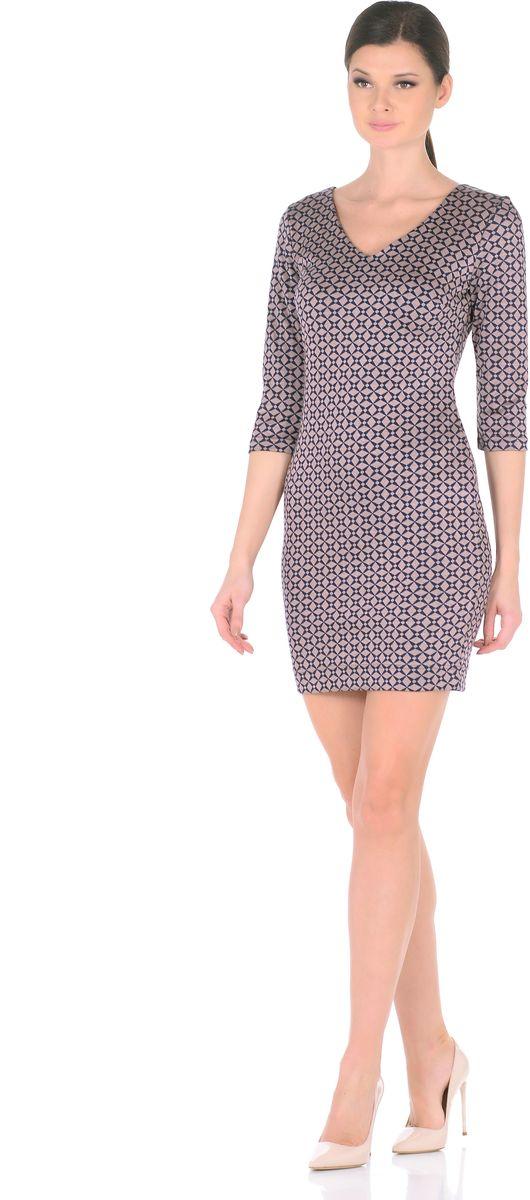 Платье Rosa Blanco, цвет: синий, бежевый. 3194-З1. Размер 483194-З1Стильное трикотажное платье Rosa Blanco станет отличным дополнением к вашему гардеробу. Модель изготовлена из сочетания качественных материалов. Платье-миди выполнено с оригинальным V-образным вырезом горловины и короткими рукавами 3/4. Модель не имеет застежек. Платье приобретает особый шарм благодаря своей лаконичности иоптимальной посадки по фигуре.