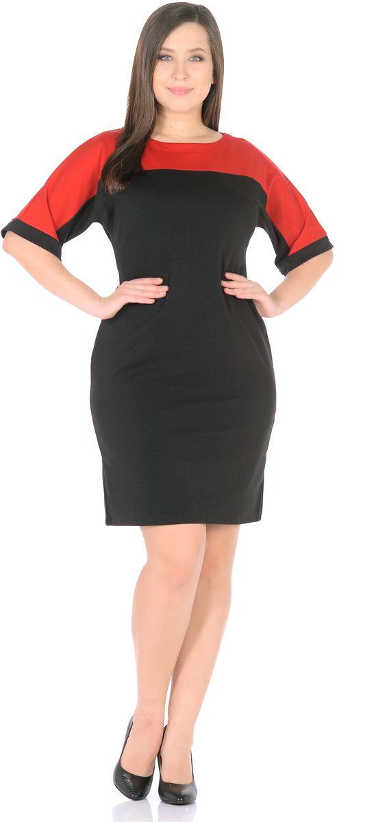 Платье Rosa Blanco, цвет: черный, красный. 33010-1-36. Размер 5833010-1-36Модное платье Rosa Blanco станет отличным дополнением к вашему гардеробу. Модель изготовлена из сочетания качественных материалов. Платье-миди выполнено с цельнокроеными рукавами 3/4 и вырезом горловины-лодочка. Модель не имеет застежек.