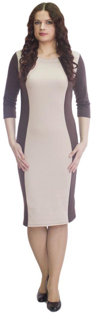 Платье Rosa Blanco, цвет: темно-коричневый, бежевый. 33049-26-42. Размер 5033049-26-42Модное платье Rosa Blanco станет отличным дополнением к вашему гардеробу. Модель изготовлена из сочетания качественных материалов. Платье-миди выполнено с удобным приталенным силуэтом и рукавами 3/4. Изделие имеет круглый вырез горловины. Модель без застежек. Платье приобретает особый шарм за счет контрастной вставки по центру.