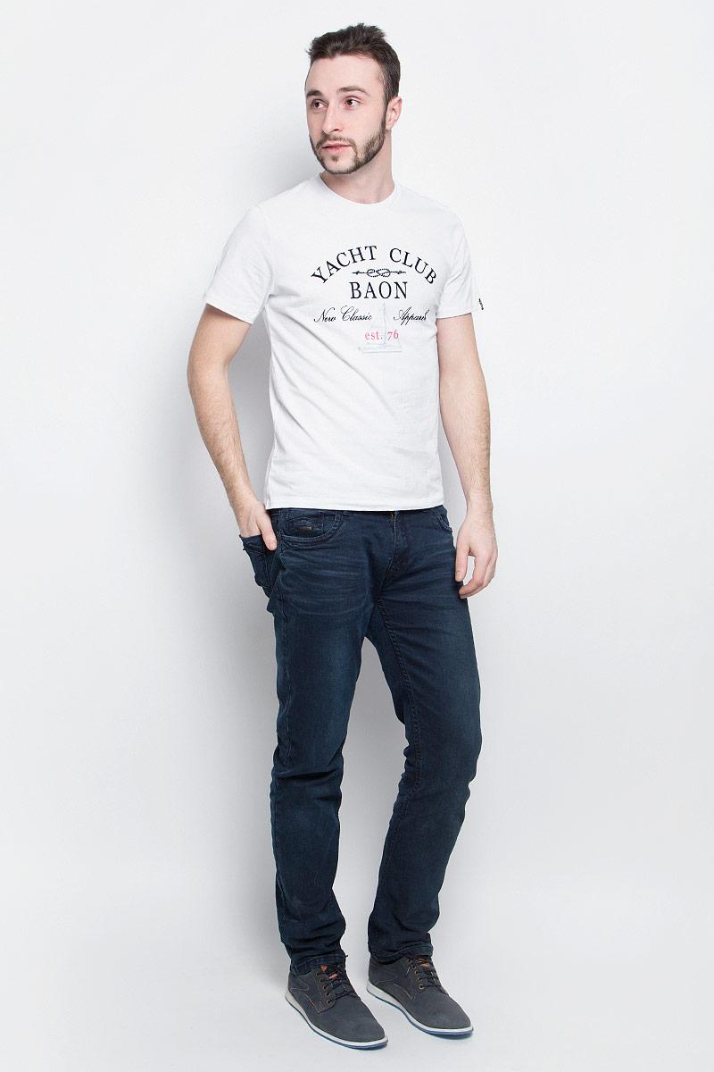 ФутболкаB737001_CayenneМужская футболка Baon выполнена из хлопковой ткани и оформлена оригинальным принтом. У модели круглый вырез горловины и стандартные короткие рукава.