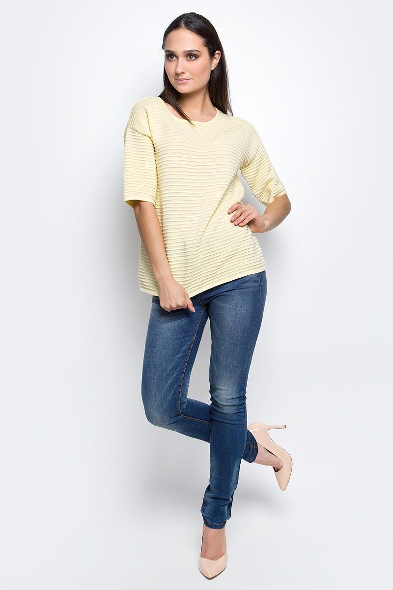 Джемпер женский Baon, цвет: желтый. B137002. Размер M (46)B137002_TwincleЖенский джемпер Baon с круглым вырезом горловины и рукавами до локтя изготовлен из хлопка с добавлением акрила.Джемпер имеет оригинальную ребристую вязку.
