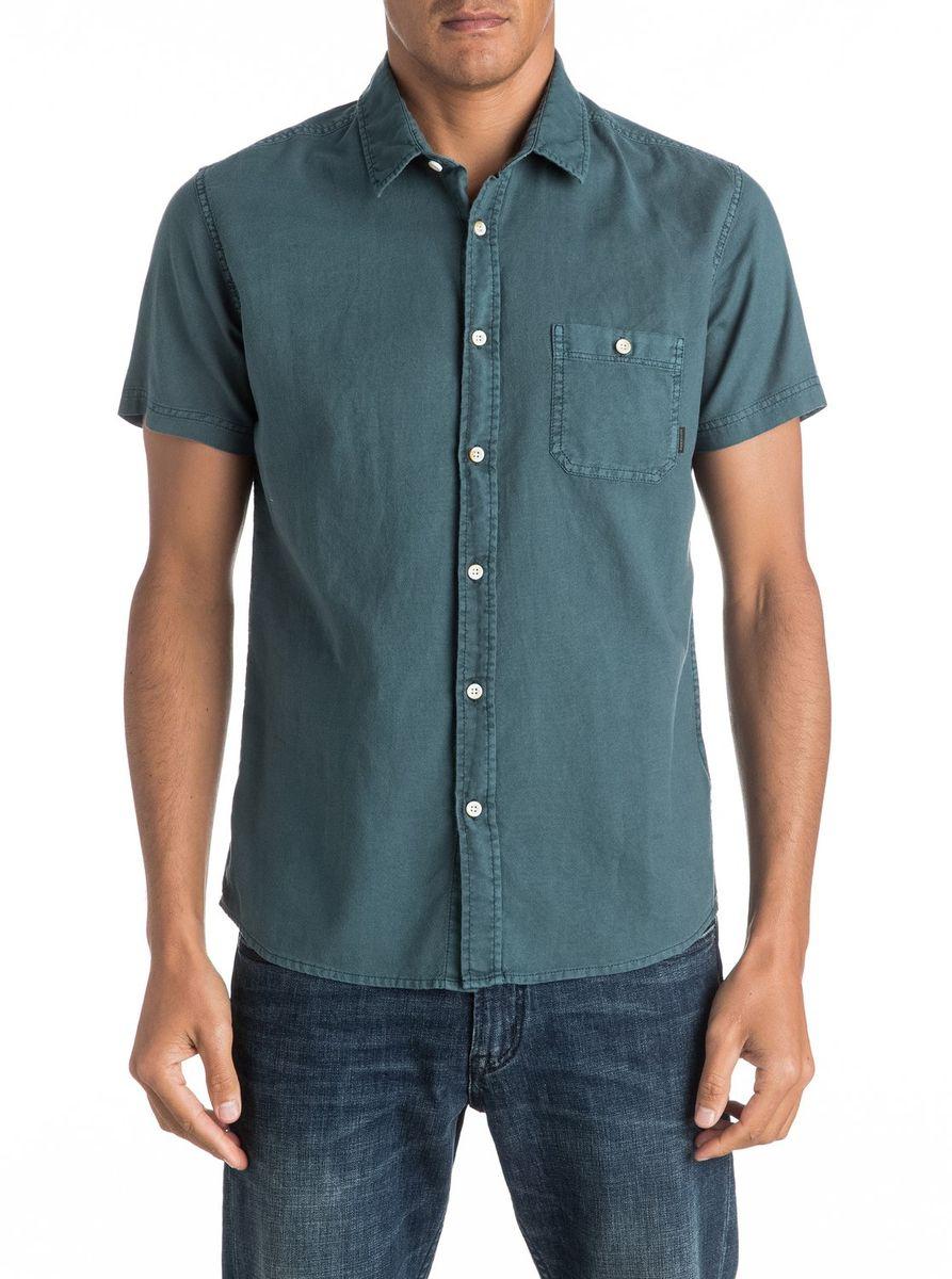 Рубашка мужская Quiksilver, цвет: темно-бирюзовый. EQYWT03444-BQK0. Размер XL (52/54)EQYWT03444-BQK0Мужская рубашка Quiksilver с короткими рукавами выполнена из качественного хлопка. Изделие застегивается на пуговицы, имеется нагрудный накладной карман.