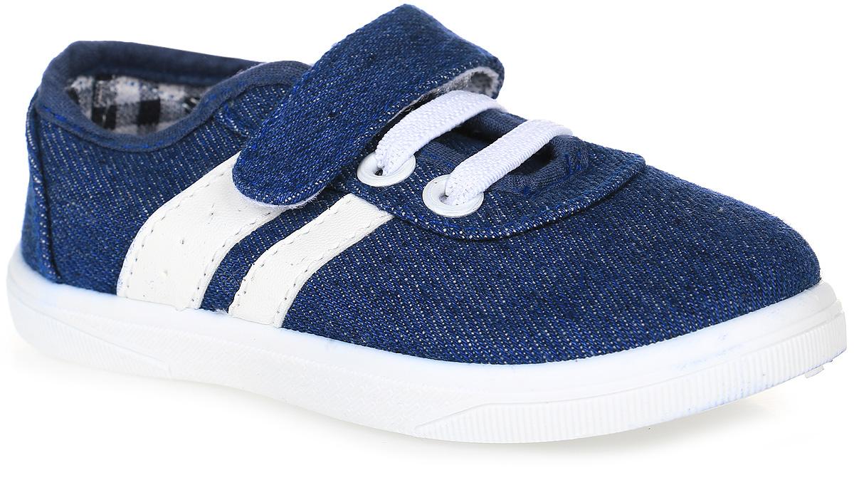 Кеды для мальчика In Step, цвет: синий, белый. 193A-2-3. Размер 28193A-2-3Кеды In Step, выполненные из текстиля, оформлены нашивками и дополнены эластичными шнурками. На ноге модель фиксируется с помощью ремешка с застежкой-липучкой. Внутренняя поверхность из текстиля комфортна при движении. Стелька выполнена из легкого ЭВА-материала с поверхностью из текстиля. Подошва изготовлена из полимера и дополнена рельефным рисунком.