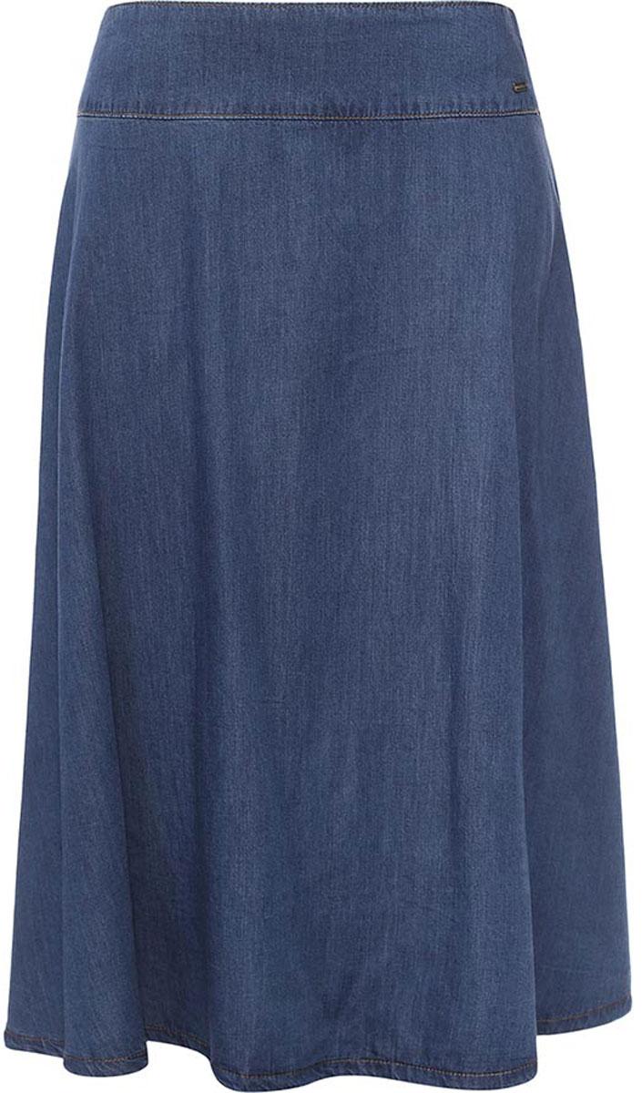 Юбка женская Finn Flare, цвет: синий. B17-12028_125. Размер L (48)B17-12028_125Юбка женская Finn Flare выполнена из натурального хлопка. Модель длинной макси.