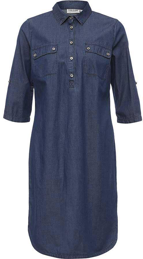 Платье Finn Flare, цвет: синий. B17-15005_125. Размер M (46)B17-15005_125Платье Finn Flare выполнено из натурального хлопка. Модель с отложным воротником и рукавами 3/4 застегивается на пуговицы.