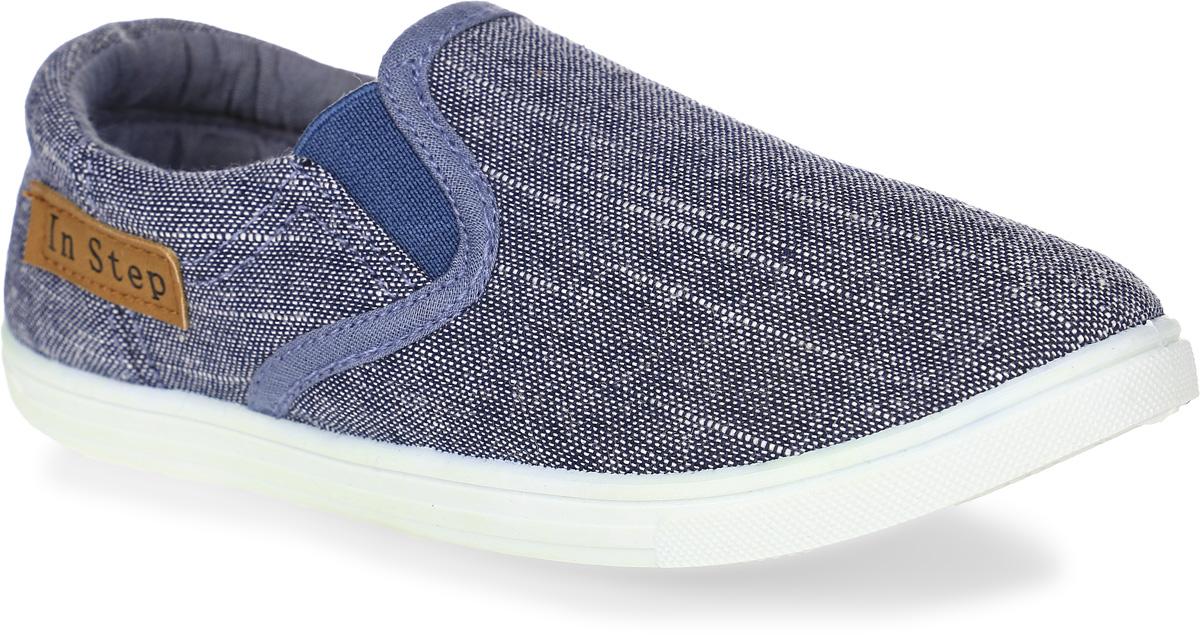 Кеды для мальчика In Step, цвет: серо-синий. A07-9. Размер 31A07-9Кеды In Step выполнены из текстиля и оформлены прострочкой. Модель дополнена эластичными резинками для удобства надевания. Внутренняя поверхность из текстиля комфортна при движении. Стелька выполнена из легкого ЭВА-материала с поверхностью из текстиля. Подошва изготовлена из полимера и дополнена рельефным рисунком.