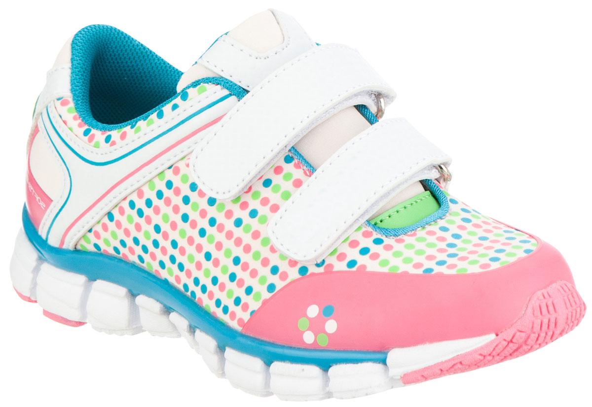 Кроссовки для девочки Kapika, цвет: розовый, белый, голубой. 72219с-2. Размер 2972219с-2Удобные и стильные кроссовки для девочки Kapika прекрасно подойдут вашему ребенку для активного отдыха и повседневной носки. Верх модели выполнен из текстиля и мягкой искусственной кожи. Подкладка из текстиля обеспечивает дополнительный комфорт для детской ножки. Стелька изготовлена из натуральной кожи, благодаря чему обувь дышит, и дарит комфорт при движении. Для удобства обувания и надежной фиксации стопы на подъеме имеются два ремешка на липучках. Модель оформлена стильным принтом и логотипом бренда. Рельефная подошва не скользит и обеспечивает хорошее сцепление с поверхностью. В них ногам вашей непоседы будет комфортно и уютно!