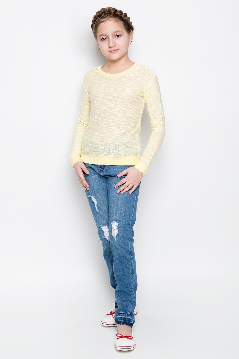 Джемпер для девочки Sela, цвет: светло-желтый. JR-614/892-7141. Размер 140, 10 летJR-614/892-7141Удобный джемпер Sela для девочки выполнен из натуральных качественных материалов. Модель с круглым вырезом горловины и длинными рукавами оформлен в лаконичном дизайне. Воротник, манжеты на рукавах и низ изделия связаны трикотажной резинкой.