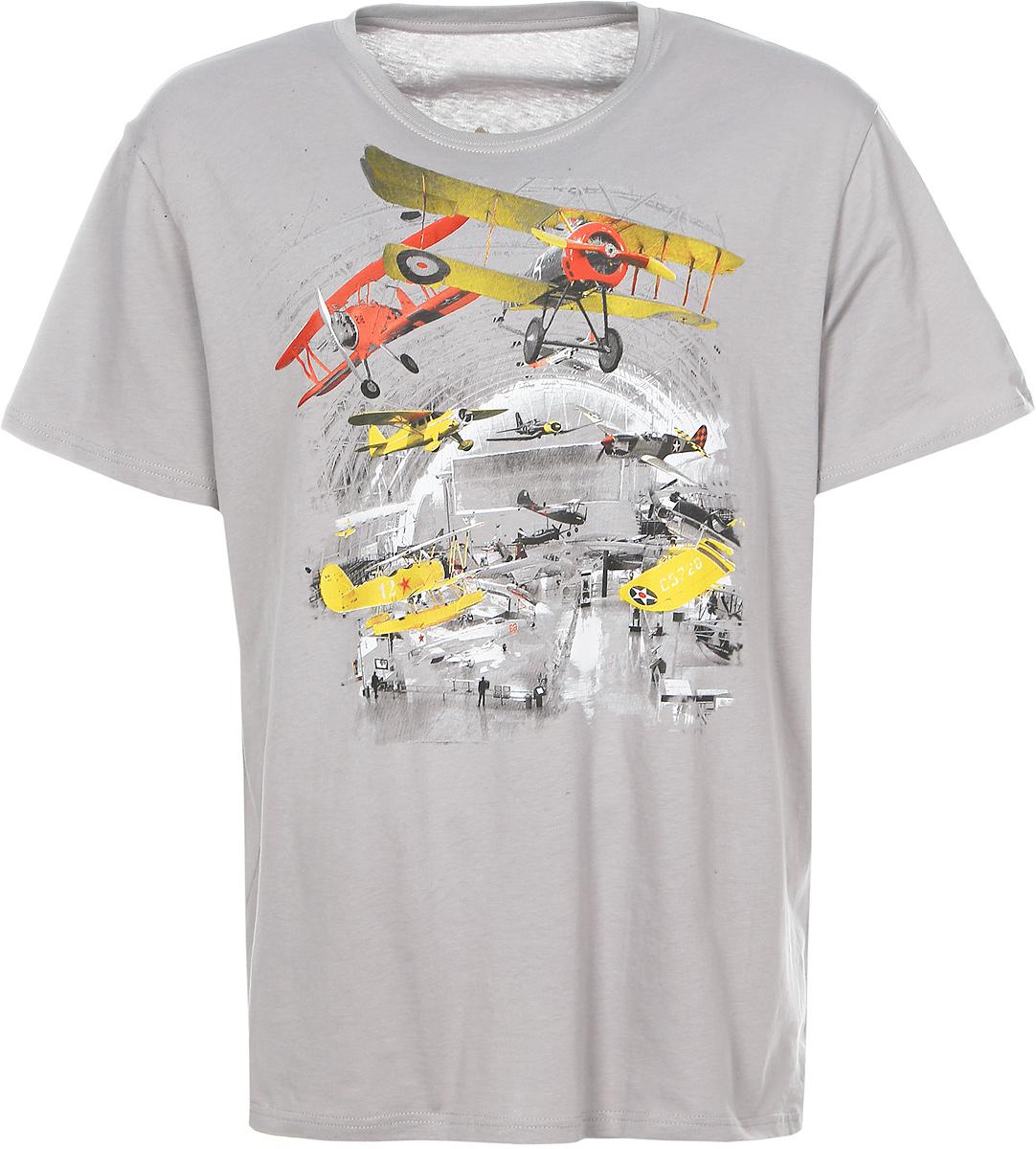 Футболка06230_АнгарСтильная мужская футболка Todomoda Ангар изготовлена из натурального хлопка. Модель с круглым вырезом горловины и короткими рукавами оформлена оригинальным принтом с изображением самолетов.