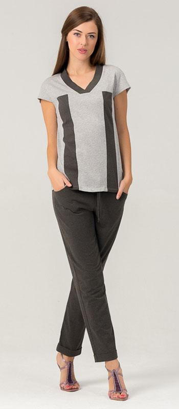 Комплект женский Tesoro: футболка, брюки, цвет: серый, оливковый. 448К2. Размер 46448К2Женский костюм для дома и отдыха, состоит из футболки и брюк. Изготовлен из мягкого трикотажного материала.