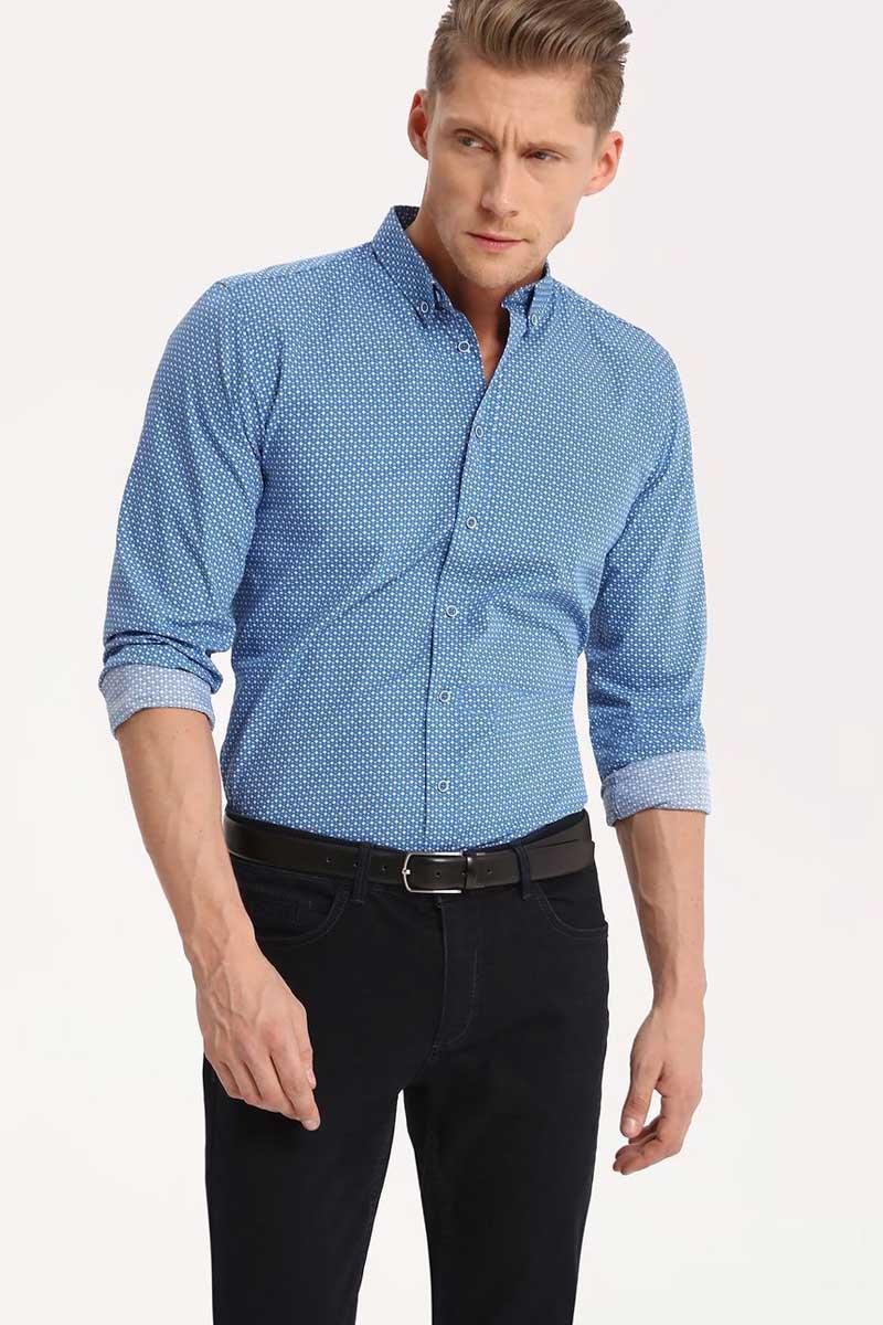 Рубашка мужская Top Secret, цвет: синий. SKL2290NI. Размер 40/41 (48)SKL2290NIРубашка мужская Top Secret выполнена из 100% хлопка. Модель с отложным воротником и длинными рукавами застегивается на пуговицы.