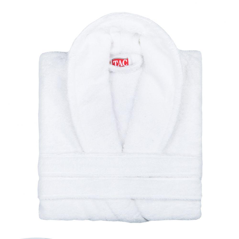 Халат TAC, цвет: белый. 2999h-89675. Размер S/M (42-46)2999-896Халат TAC с воротником шаль выполнен из плотной бархатистой ткани - смеси хлопка и бамбукового волокна. Халат с запахом на поясе имеет два накладных кармана. Отлично впитывает влагу, пропускает воздух и прост в уходе. Удобен как в носке дома постоянно, так и в эксплуатации после приема ванны или душа. Мягкий пояс прилагается.
