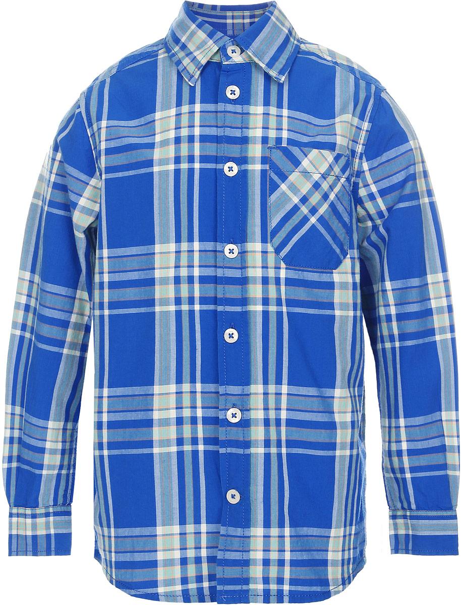 Рубашка2032941.00.82_6834Рубашка для мальчика Tom Tailor выполнена из натурального хлопка. Модель с отложным воротником и длинными рукавами застегивается на пуговицы. Спереди изделие дополнено накладным карманом.