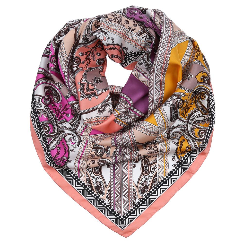 Платок женский Fabretti, цвет: розовый, сиреневый, желтый. CX1617-30-4. Размер 90 см х 90 смCX1617-30-4Изысканный женский платок Fabretti выполнен из натурального шелка, который придает изделию неповторимый роскошный блеск и гладкость фактуры. Тонкая и прочная нить, создающая струящуюся ткать, подчеркнет изысканный вкус своей обладательницы.