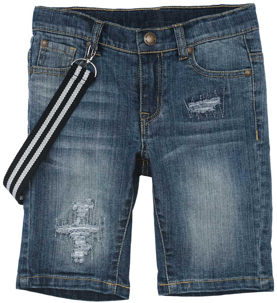 Шорты171157Удлиненные шорты PlayToday из натуральной джинсовой ткани с прорезями и эффектом потертости идеально подойдут для отдыха и прогулок. Модель со шлевками, при необходимости можно использовать ремень. В качестве декора предлагается стильный пояс на карабинах.
