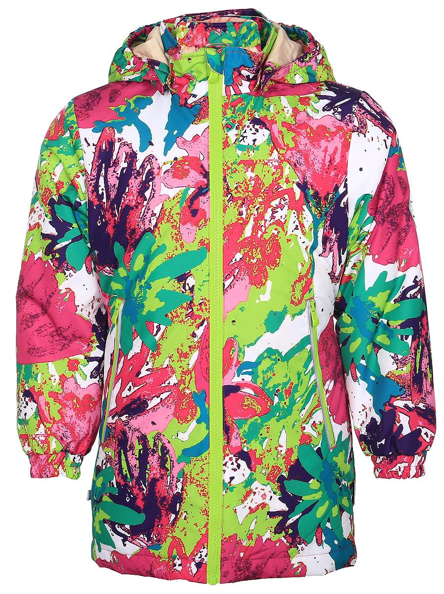 Куртка17880010-71220Куртка для девочки Huppa June изготовлена из водонепроницаемого полиэстера. Куртка со съемным капюшоном застегивается на пластиковую застежку-молнию. Высокотехнологичный лёгкий синтетический утеплитель нового поколения, сохраняет объём и высокую теплоизоляцию изделия. Края капюшона и рукавов дополнены резинками. Сзади на талии ткань собрана на внутренние резинки. У модели имеются два врезных кармана на застежках-молниях. Изделие дополнено светоотражающими элементами.