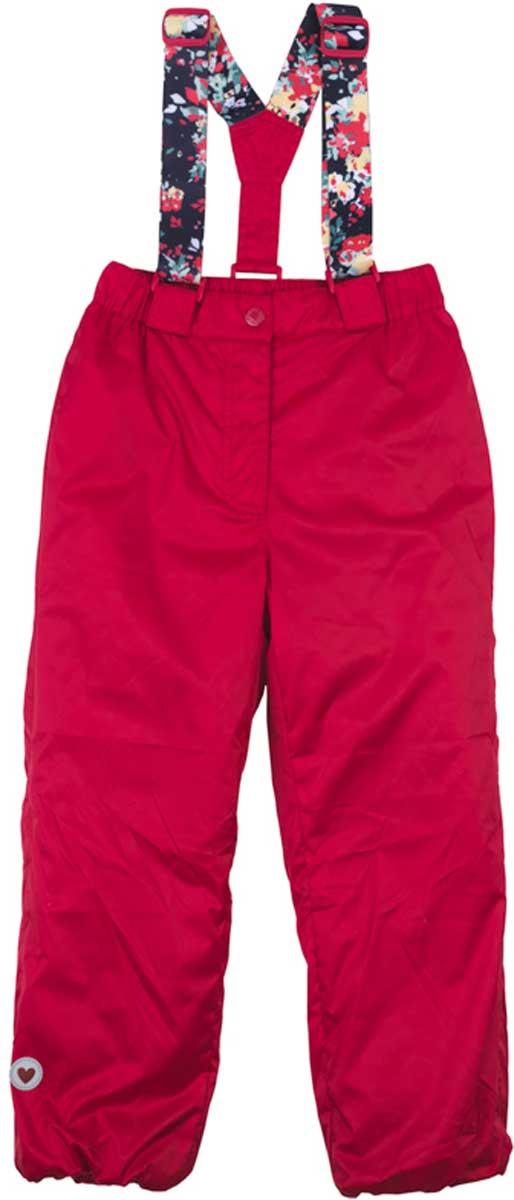 Брюки для девочки PlayToday, цвет: красный. 172002. Размер 104172002Практичные и удобные брюки на эластичных бретелях с удобной застежкой - молнией и пуговицей. Бретели регулируются по длине. Водоотталкивающая пропитка позволит гулять Вашему ребенка даже в сильный дождь. Для сохранения тепла, низ брюк снабжен мягкой резинкой. За счет светоотражателя по низу изделия, ребенок будет виден в темное время суток.