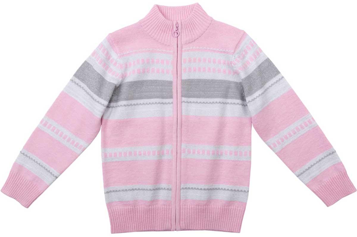 Кофта для девочки PlayToday, цвет: светло-розовый, белый, светло-серый. 172056. Размер 116172056Кофта для девочки PlayToday прекрасно подойдет для прохладной погоды. Натуральный материал приятен к телу и не сковывает движений ребенка. Материал изделия изготовлен методом yarn dyed - в процессе производства в полотне используются разного цвета нити. Тем самым изделие, при рекомендуемом уходе, не линяет и надолго остается в прежнем виде, это определенный знак качества. Модель на разъемной молнии. Мягкие резинки на манжетах и по низу изделия позволяют ему держать форму.