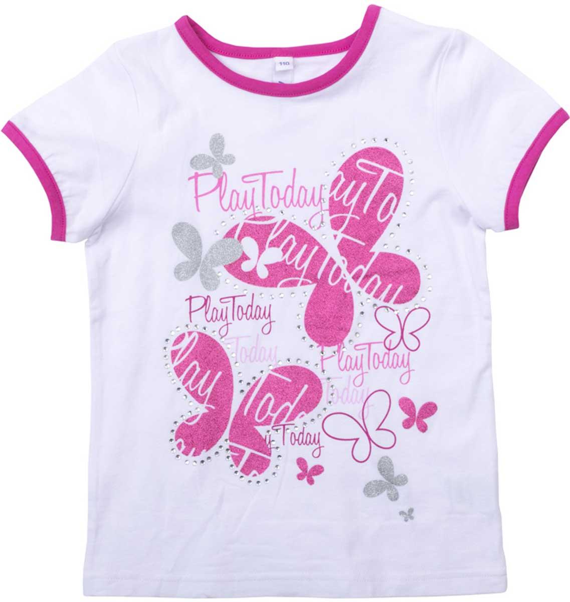 Футболка для девочки PlayToday, цвет: белый, розовый. 172068. Размер 98172068Футболка для девочки PlayToday свободного классического кроя прекрасно подойдет как для домашнего использования, так и для прогулок на свежем воздухе. Рукава на мягких резинках. Можно использовать в качестве базовой вещи повседневного гардероба вашего ребенка. Яркий стильный принт является достойным украшением данного изделия.