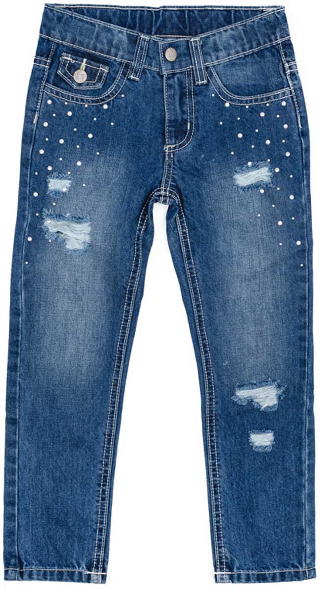 Джинсы172105Эффектные джинсы понравятся вашей моднице. Модель с эффектом потертости и металлическими клепками. Шлевки на поясе позволяют использовать ремень. Мягкая ткань, приятная на ощупь не сковывает движений ребенка.