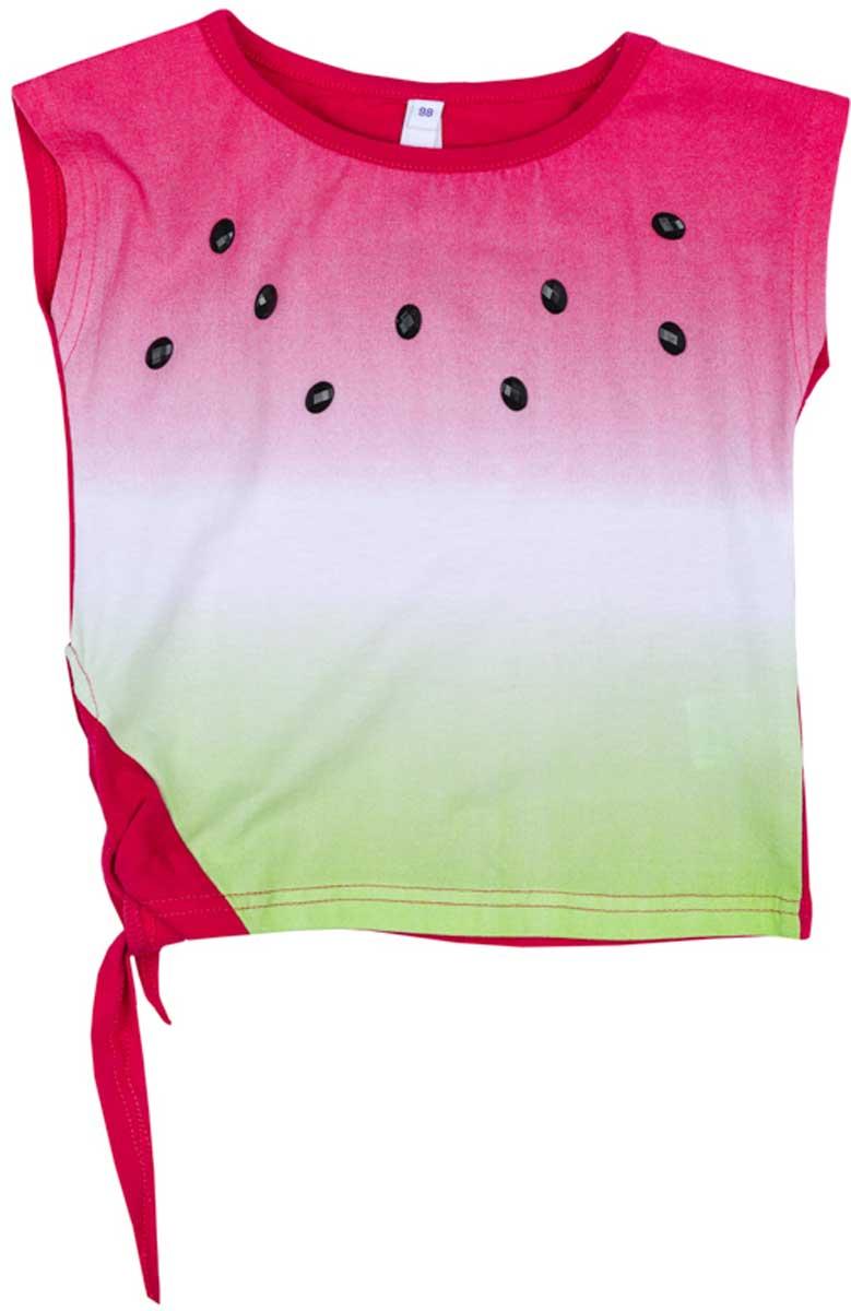 Футболка172167Футболка для девочки PlayToday из натуральной ткани яркой сочной расцветки сможет дополнить гардероб вашей модницы! Модель завязывается сбоку на эффектный узел.