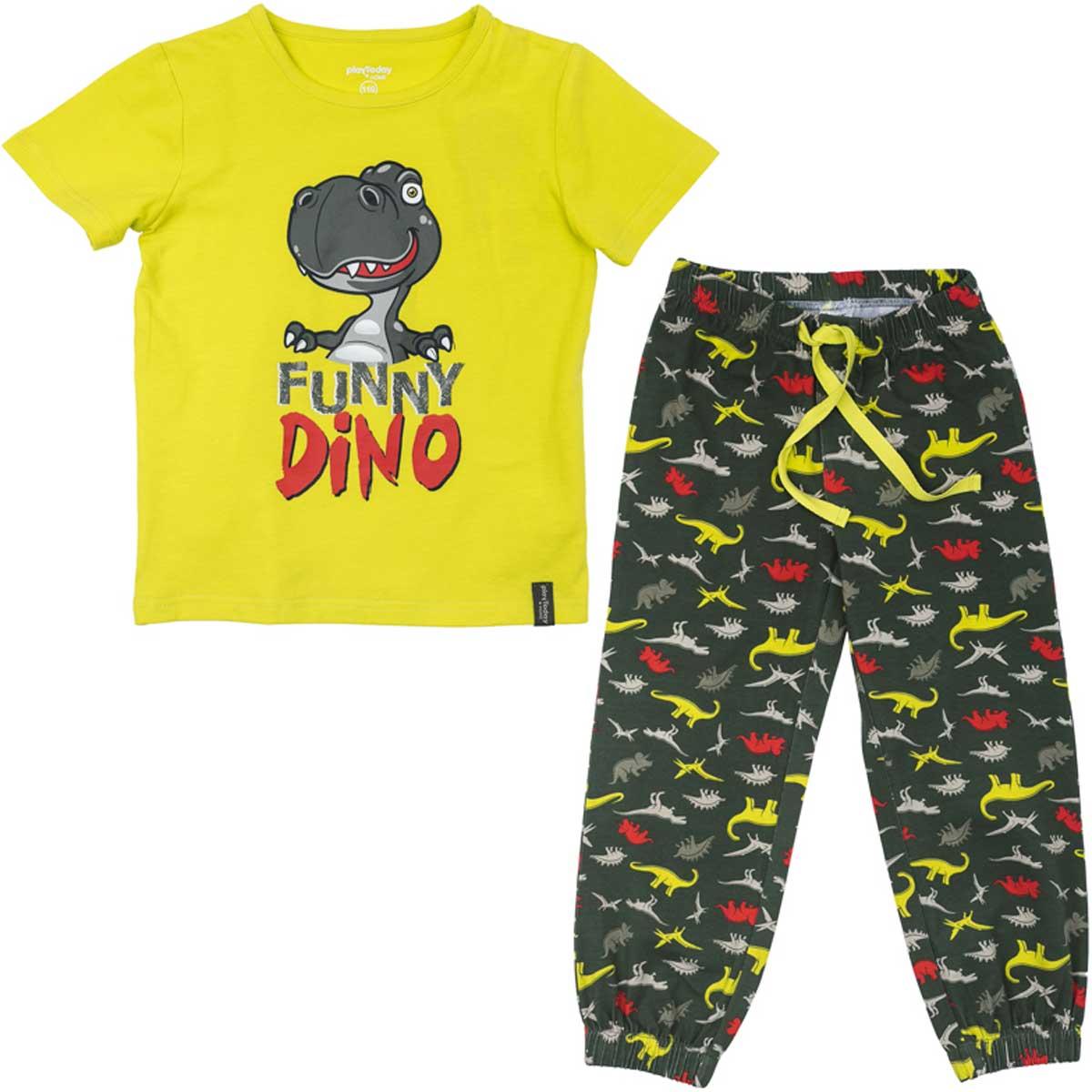 Комплект для мальчика PlayToday: футболка, брюки, цвет: желтый, темно-серый. 175001. Размер 116175001Комплект из футболки и брюк прекрасно подойдет для домашнего использования. Мягкий, приятный к телу, материал не сковывает движений. Яркий стильный принт является достойным украшением данного изделия. Брюки на мягкой удобной резинке на поясе и на штанинах, с регулируемым шнуром - кулиской на поясе.