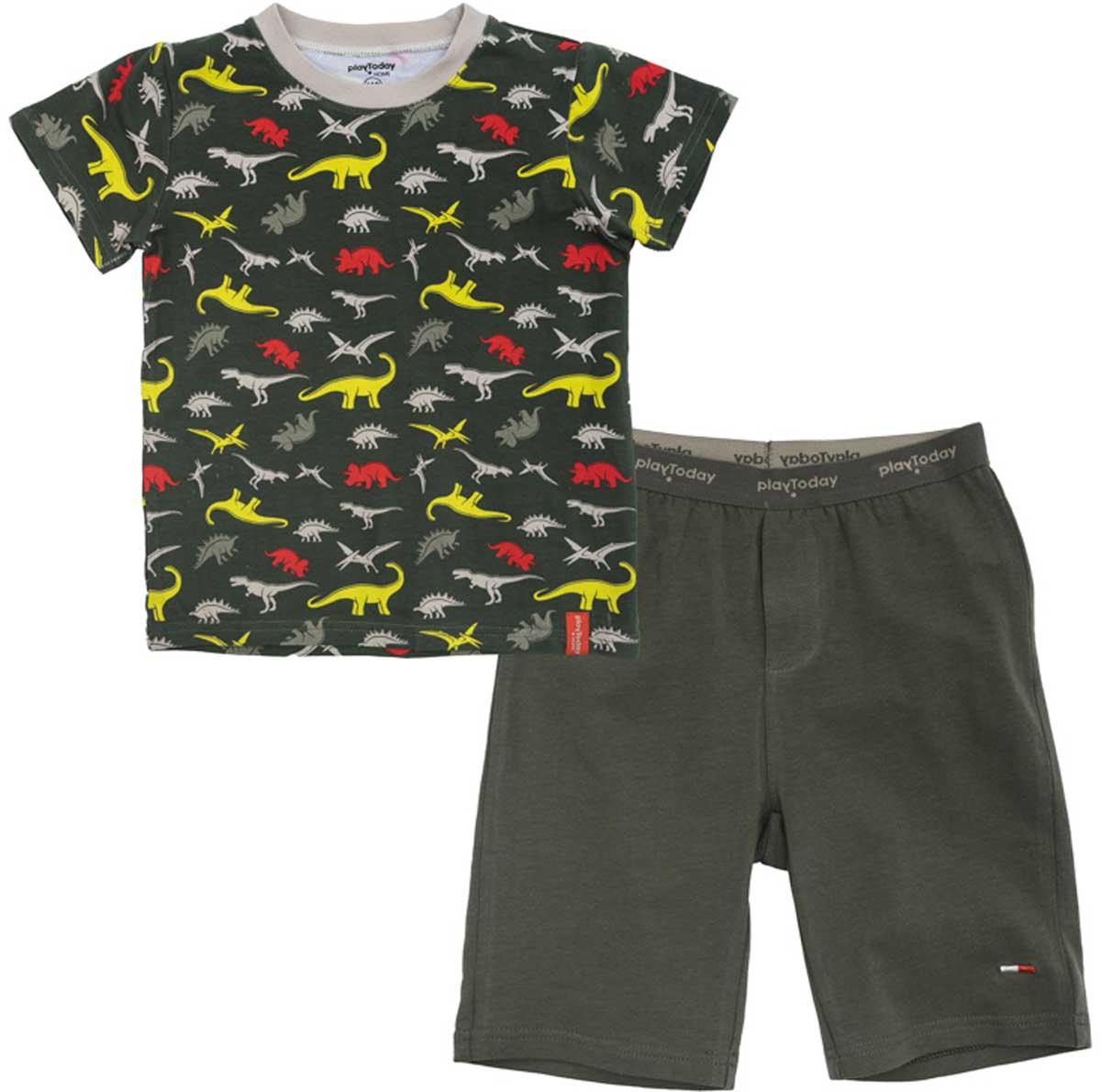 Комплект для мальчика PlayToday: футболка, шорты, цвет: темно-серый. 175003. Размер 104175003Комплект из майки и шорт прекрасно подойдет для домашнего использования. Может быть и домашней одеждой, и уютной пижамой. Мягкий, приятный к телу, материал не сковывает движений. Яркий принт является достойным украшением данного изделия.