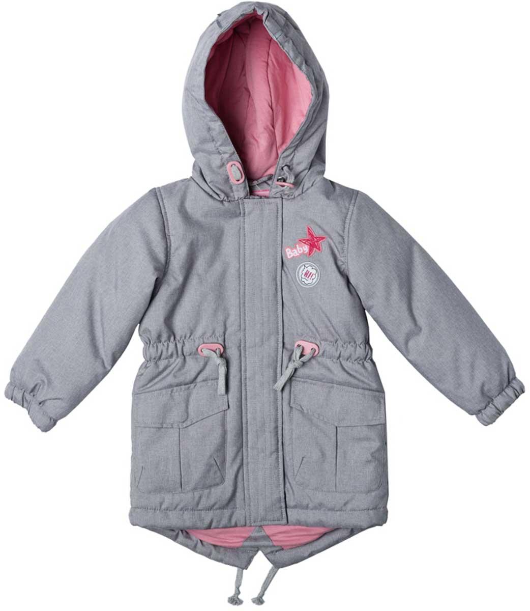 Куртка для девочки PlayToday, цвет: серый, светло-розовый. 178003. Размер 74178003Практичная утепленная куртка с капюшоном со специальной водоотталкивающей пропиткой защитит вашего ребенка в любую погоду! Мягкие трикотажные резинки на рукавах защитят вашего ребенка - ветер не сможет проникнуть под куртку. Специальный карман для фиксации застежки-молнии не позволит застежке травмировать нежную детскую кожу. Мягкая резинка на капюшоне не позволит ему упасть с головы вашего ребенка даже во время активных игр. Для дополнительного сохранения тепла модель снабжена шнурами - кулисками на поясе и по низу изделия.