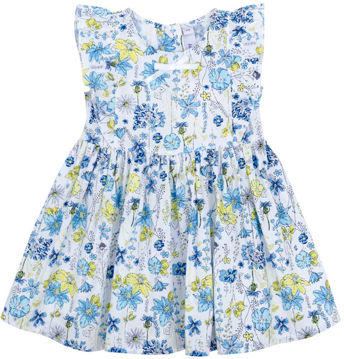 Платье178058Платье PlayToday, отрезное по талии, с округлым вырезом у горловины, и набивным нежным рисунком понравится вашей моднице. Свободный крой не сковывает движений. Приятная на ощупь ткань не раздражает нежную кожу ребенка. Модель декорирована оборками.