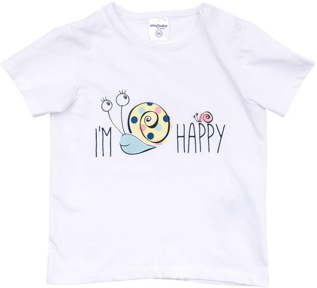 Футболка178074Футболка для девочки PlayToday выполнена из хлопка и эластана. Модель с круглым вырезом горловины и короткими рукавами оформлена оригинальным принтом.