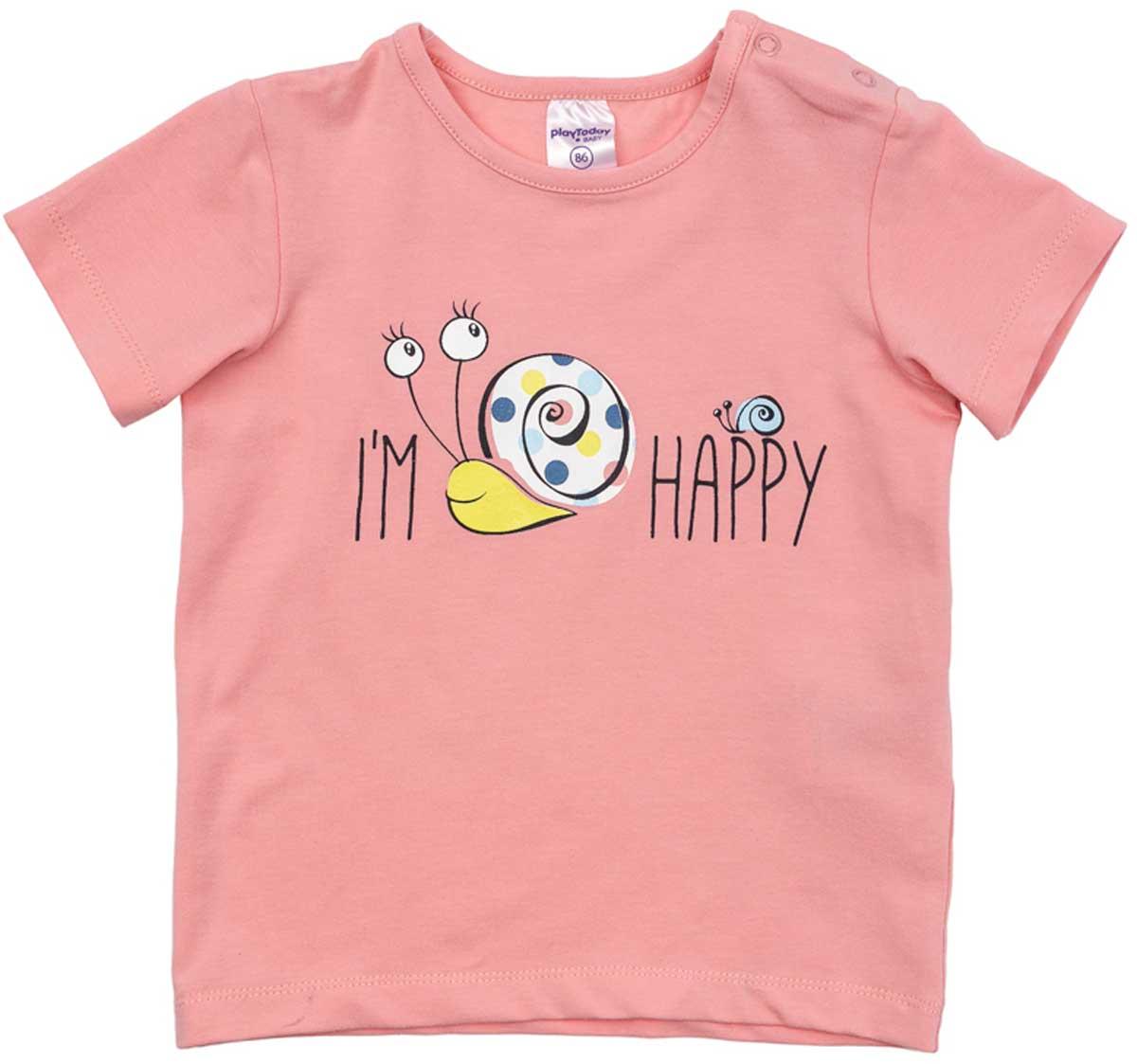 Футболка для девочки PlayToday, цвет: розовый. 178075. Размер 74178075Футболка для девочки PlayToday выполнена из хлопка и эластана. Модель с круглым вырезом горловины и короткими рукавами оформлена оригинальным принтом.