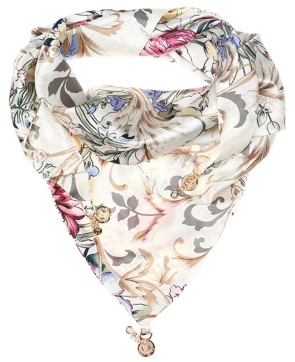 Шарф женский Vittorio Richi, цвет: бежевый, розовый, зеленый. Ro02S279/5350-3. Размер 75 см х 155 смRo02S279/5350-3Элегантный женский шарфик Vittorio Richi изготовлен из полиэстера и шелка. Шарфик треугольной формы оформлен оригинальным принтом. По краям изделие дополнено металлическими декоративными утяжелителями со стразами.