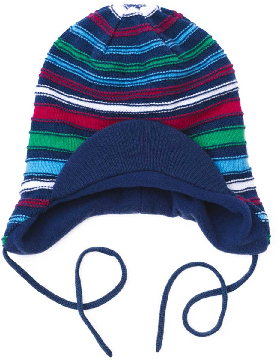 Шапка детская171027Шапка PlayToday для мальчика из хлопка и акрила. Модель на подкладке с козырьком и на завязках подойдет для прогулок в прохладную погоду. Эргономичная конструкция этой шапки предохранит уши вашего ребенка от сильного ветра. Плотно прилегает к голове. Уважаемые клиенты! Размер, доступный для заказа, является обхватом головы.