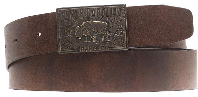 Ремень мужской Wrangler, цвет: коричневый. W0A60US85. Размер 105W0A60US85Стильный широкий ремень Wrangler выполнен из натуральной кожи. Металлическая пряжка, с помощью которой регулируется длина ремня, оформлена фирменной гравировкой.