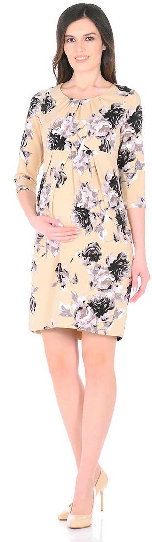 Платье5121512172Нежное платье Mammy Size, классического фасона , приталенное и выделенное складками на животике.