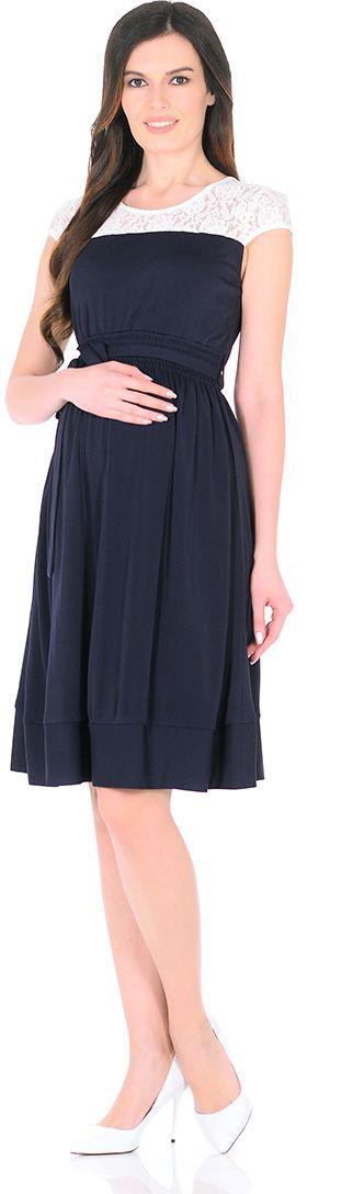 Платье для беременных Mammy Size, цвет: синий. 5035522173. Размер 425035522173Платье для беременных Mammy Size выполнено из полиэстера. Элегантное платье с кружевом и пайетками.