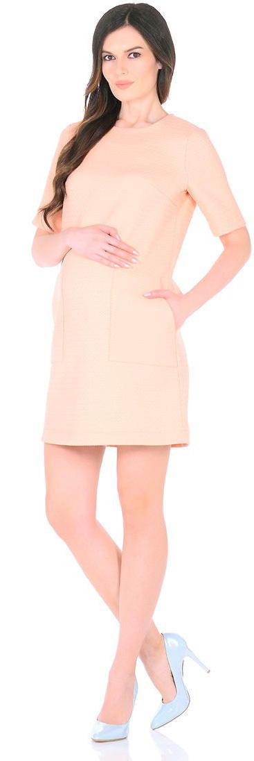 Платье для беременных Mammy Size, цвет: персиковый. 3030512176. Размер 483030512176Платье для беременных Mammy Size выполнено из полиэстера. Модель с круглым вырезом горловины и короткими рукавами сзади застегивается на молнию.