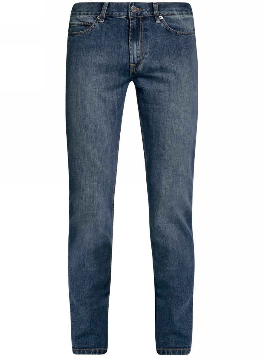 Джинсы6B120046M/46627/7400WМужские джинсы oodji Basic выполнены из высококачественного материала. Модель средней посадки по поясу застегивается на пуговицу и имеют ширинку на застежке-молнии, а также шлевки для ремня. Джинсы имеют классический пятикарманный крой: спереди - два втачных кармана и один маленький накладной, а сзади - два накладных кармана.