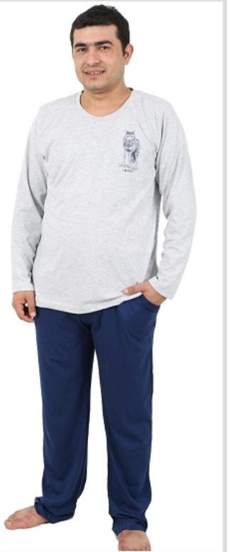 Домашний комплект406051 4601Мужской домашний комплект Vienettas Secret состоит из лонгслива и брюк. Комплект выполнен из 100% натурального хлопка. Лонгслив имеет круглый вырез горловины и длинные рукава. Брюки свободного кроя снабжены резинкой на талии. Комплект выполнен в двухцветном дизайне, а лонгслив дополнен изображением волка.