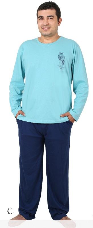 Комплект домашний мужской Vienettas Secret: лонгслив, брюки, цвет: светло-голубой, синий. 406051 4601. Размер XXL (52)406051 4601Мужской домашний комплект Vienettas Secret состоит из лонгслива и брюк. Комплект выполнен из 100% натурального хлопка. Лонгслив имеет круглый вырез горловины и длинные рукава. Брюки свободного кроя снабжены резинкой на талии. Комплект выполнен в двухцветном дизайне, а лонгслив дополнен изображением волка.