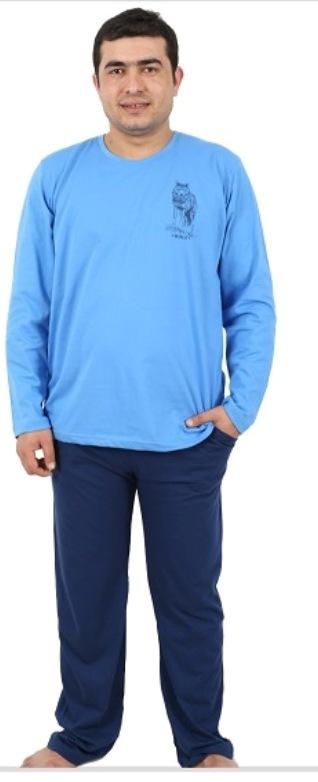 Комплект домашний мужской Vienettas Secret: лонгслив, брюки, цвет: лазурный, синий. 406051 4601. Размер XXXL (54)406051 4601Мужской домашний комплект Vienettas Secret состоит из лонгслива и брюк. Комплект выполнен из 100% натурального хлопка. Лонгслив имеет круглый вырез горловины и длинные рукава. Брюки свободного кроя снабжены резинкой на талии. Комплект выполнен в двухцветном дизайне, а лонгслив дополнен изображением волка.