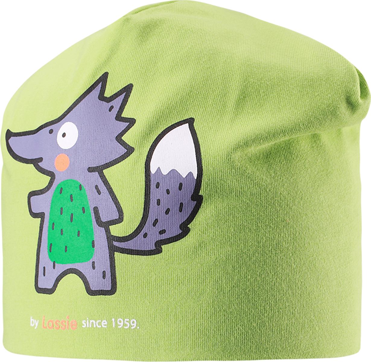 Шапка детская Lassie, цвет: зеленый. 7187178300. Размер 46/487187178300Базовая шапка для малышей с забавным рисунком в лисички. Шапка сделана из легкого и удобного джерси на полной трикотажной подкладке из гладкого дышащего смесового хлопка. Она снабжена рисунком сбоку и светоотражающей эмблемой на заднем шве.