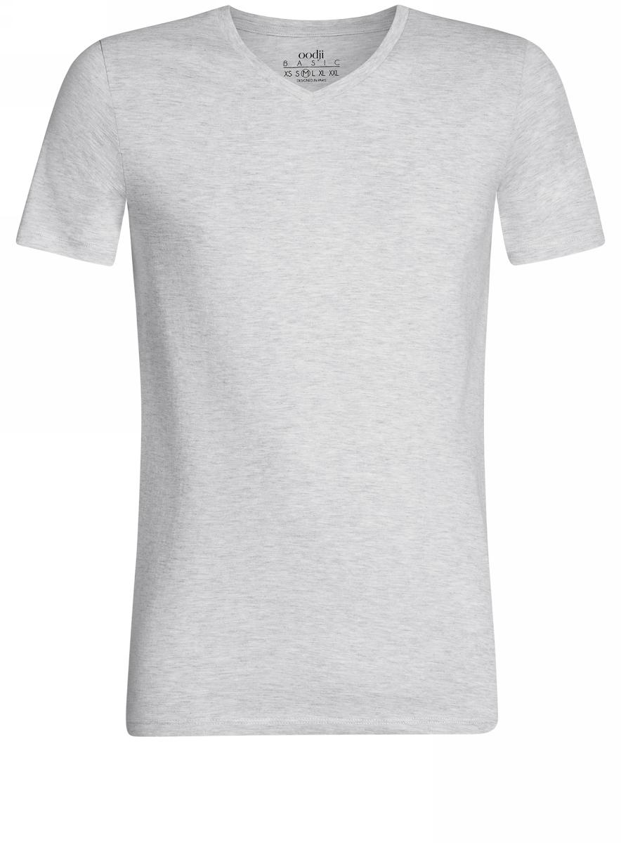 Футболка5B612001M/39272N/2000MБазовая футболка с V-образным вырезом горловины и короткими рукавами выполнена из натурального хлопка с добавлением вискозы.